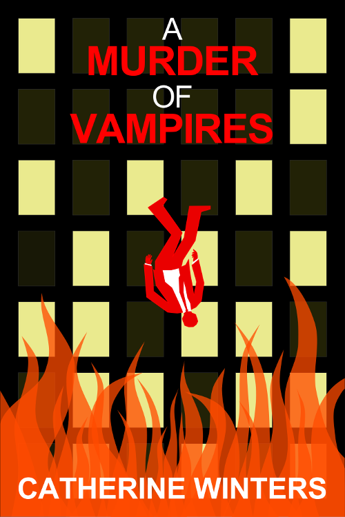 Promotional image one for A MURDER OF VAMPIRES inspired by MAD MEN falling man intro.