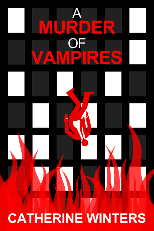 Promotional image two for A MURDER OF VAMPIRES inspired by MAD MEN falling man intro.