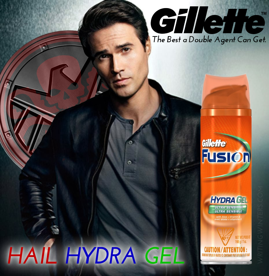 Hail Hydra Gel: Gillette Fusion parody ad featuring Brett Dalton from Marvel's Agents of SHIELD.