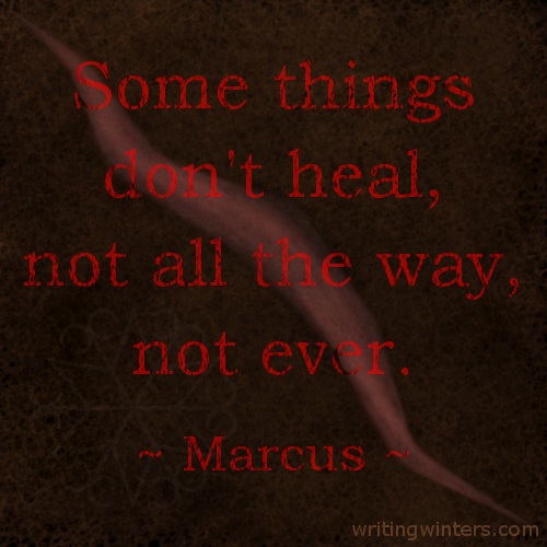 Some things don't heal, not all the way, not ever. -Marcus