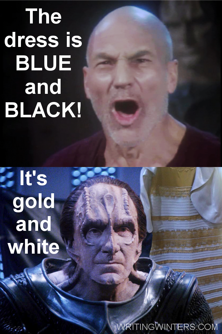 """""""There are four lights"""" parody: Dress is Blue and Black vs Gold and White with Jean-Luc Picard and Gul Madred."""